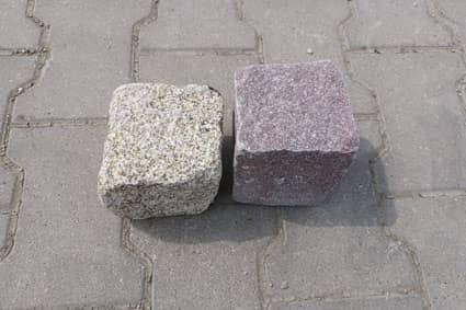 Granitpflaster gelb und rot